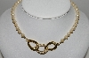 "MBA #91-083   ""Vintage Gold Plated Rhinestone Center Faux Pearl Necklace"""