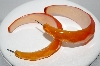 "+MBA #91-009   ""Vintage Large Lucite Orange 3/4 Hoop Pierced Earrings"""