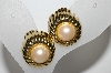 "MBA #91-148  ""Monet Goldtone Faux Pearl Clip On Earrings"""