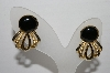 "+MBA #91-093   ""Vintage Gold Plated Black Glass Pierced Earrings"""