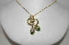 "MBA #91-023   ""Vintage Gold Tone Green Rhinestone & Faux Pearl Pendant With Chain"""