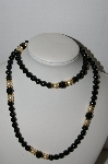 "MBA #91-076   ""Napier Black Acrylic  Bead & Faux Pearl Necklace"""