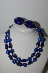 "MBA #91-122   ""Vintage Blue Acrylic Bead Necklace & Clip On Hoop Earrings"""