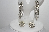 "**MBA #91-156   ""Vintage Lot Of 2 Pairs Of Clear Crystal Rhinestone Earrings"""