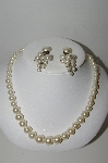 "MBA #91-145   ""Vintage Faux Pearl Necklace & Earrings"""