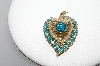 "+MBA #91-002   ""Vintage Goldtone Blue Rhinestone & Faux Pearl Heart Pin"""