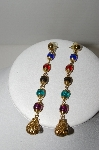 "+MBA #91-108   ""Vintage Gold Plated Multi Colored Acrylic bead Drop Earrings"""