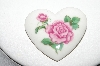 "MBA #91-031   ""Avon Ceramic Rose Heart Shaped Pin"""