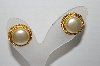 "MBA #91-028   ""Napier Goldtone Faux Pearl Pierced Earrings"""