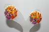"+MBA #91-092   ""Vintage White Acrylic Floral Pierced Earrings"""