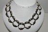 "**MBA #81-042  MBA #91-042   ""Large Vintage Silvertone Hammered Look Link Necklace"""