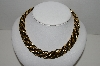"MBA #91-066   ""Vintage Black Silk Cord & Gold Plated Twisted Rope Necklace"""