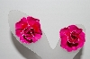 "+MBA #91-184   ""Vintage Pink Enameled Rose Clip On Earrings"""