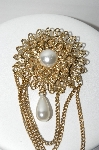 "MBA #91-003   ""Vintage Gold Plated Faux Pearl Pin With Layered Chains"""