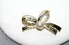 "**MBA #91-071   ""Sarah Coventry Small Gold Tone Faux Pearl Bow Pin"""