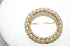 "MBA #91-269   ""Trifari Gold Tone Circle Faux Pearl Pin"""
