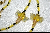 "MBA #6569    ""Lamp Work Glass Dragonflys With Yellow & Blacks Beads"
