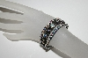 "MBA #91-134   ""Vintage Set Of 3 Gun Metal Grey  AB Crystal Stretch Bracelets"""