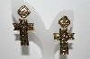 "+MBA #91-100   ""Vintage Gold Plated Fancy Cross Pierced Earrings"""