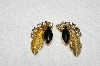 "MBA #E49-204    ""Vintage Gold Tone Black Stone & Clear Crystal Rhinestone Fancy leaf Earrings"""