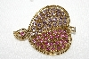 "**MBA #E48-032   ""Vintage Gold Tone Pink & Lavender Crystal Rhinestone Pin"""