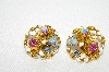 "MBA #E48-126   ""Vintage Made In Austria Gold Tone Crystal Rhinestone & Enamel Clip On Earrings"""