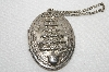 "MBA #E48-169    ""Vintage Silvertone Large Christmas Tree Embossed Locket"""