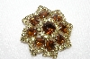"**MBA #E48-057   ""Vintage Goldtone Brown & Clear Rhinestone Brooch"""