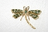 "**MBA #E48-265   ""Vintage Gold Tone Fancy Crystal & Green Enamel Dragonfly Pin"""