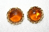 "MBA #E48-019   ""Coro Gold Tone Amber Colored Acrylic Stone Earrings"""