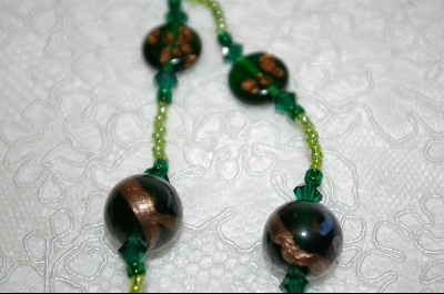"+MBA #6526  ""Lamp Work Green Glass Beads"""