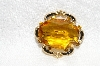 "**MBA #E48-262   ""Vintage Gold Tone Citrine Colored Glass Stone Pin"""