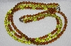 "MBA #E48-052   ""Vintage Silvertone Green & Brown Fancy 3 Row Glass Bead Necklace"""