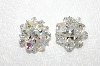 "MBA #E48-023   ""Vintage Silvertone Faceted AB Crystal Bead Cluster Earrings"""
