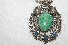 "MBA #E48-150  ""Vintage Silvertone Green Stone Pendant With Chain"""