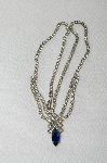 "MBA #E48-210  ""Vintage Silvertone Clear Crystal & Blue Rhinestone Necklace"""