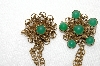"**MBA #E48-097   ""Vntage Goldtone Green Stone Double Sweater Pin Set"""