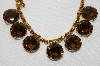 "MBA #E48-133   ""Vintage Gold Tone Brown & Citrine Colored Fancy Rhinestone Necklace"""