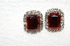 "MBA #E49-067   ""Vintage Silvertone Red Acrylic & Clear Rhinestone Pierced Earrings"""