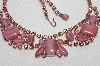 "MBA #E49-135   ""Vintage Gold Tone Pink Art Glass & Rhinestone Necklace"""