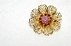 "**MBA #E49-062   ""Vintage Gold Tone Red & Pink Rhinestone Pin"""