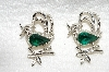 "**MBA #E49-020   ""Gerrys Set Of 2 Silvertone Green Rhinestone Bird Pins"""