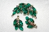 "MBA #E49-041  ""Vintage Gold Tone Green Glass & AB Crystal Rhinestone Pin & Matching Earring Set"""