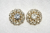 "MBA #E49-047  ""Judy Lee Gold Tone Faux Pearl & Clear Rhinestone Clip On Earrings"""