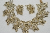 "MBA #E49-117   ""Judy Lee Gold Tone Fancy Leaf, Faux Pearl & AB Rhinestone Bracelet & Earrings Set"""