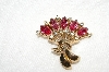 "**MBA #E49-084   ""Vintage Gold Tone Pink & Clear Rhinestone Pin"""