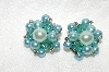 "+MBA #E49-032   ""Vintage Blue Acrylic Bead & Faux Blue Pearl Cluster Earrings"""