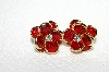 "+MBA #E49-039   ""Vintage Gold Tone Red Acrylic & Rhinestone Pierced Earrings"""