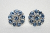 "MBA #E49-001  ""Vintage Silvertone Round Blue Rhinestone Earrings"""