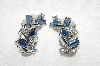 "MBA #E49-076   ""Vintage Silvertone Fancy Blue Rhinestone Clip On Earrings"""